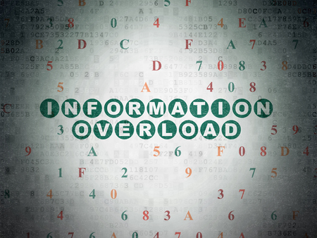 hexadecimal: Information concept: Painted green text Information Overload on Digital Paper background with Hexadecimal Code