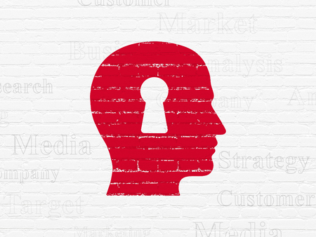 head tag: Advertising concept: Painted red Head With Keyhole icon on White Brick wall background with  Tag Cloud Stock Photo