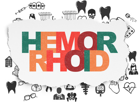 hemorrhoid: Health concept: Painted multicolor text Hemorrhoid on Torn Paper background with  Hand Drawn Medicine Icons