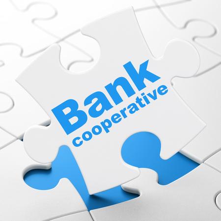 cooperativismo: Concepto de dinero: Banco Cooperativo sobre el White piezas de un rompecabezas de fondo, 3d Foto de archivo