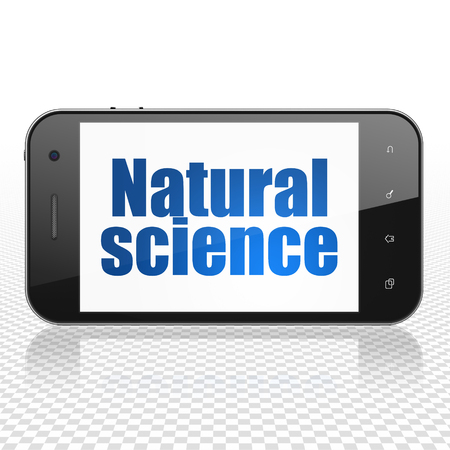 natural science: Science concept: Smartphone with  blue text Natural Science on display,  Tag Cloud background