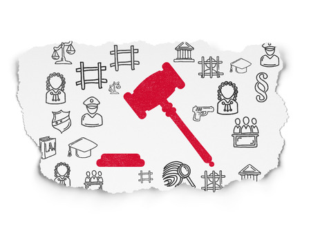 lex: Law concept: Painted red Gavel icon on Torn Paper background with  Hand Drawn Law Icons