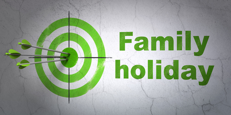 hitting a wall: Success tourism concept: arrows hitting the center of target, Green Family Holiday on wall background Stock Photo
