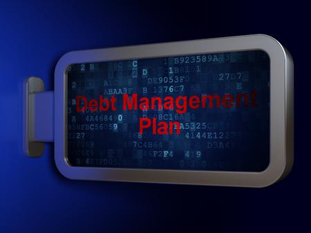 debt management: Finance concept: Debt Management Plan on advertising billboard background, 3d render