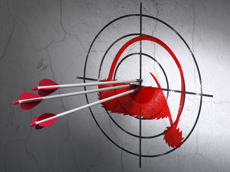 target shooting: Success entertainment, concept: arrows hitting the center of Red Christmas Hat target on wall background Stock Photo