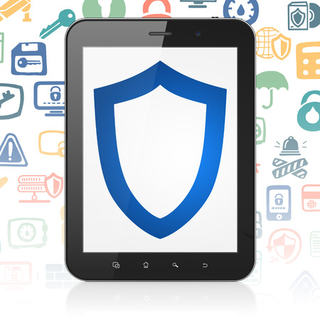 contoured: Privacy concept: Tablet Computer with  blue Contoured Shield icon on display,  Hand Drawn Security Icons background