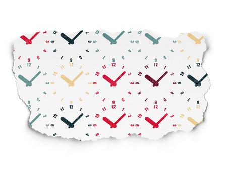 cronologia: Concepto de tiempo: Pintado Iconos del reloj multicolores sobre fondo de papel rasgado Foto de archivo