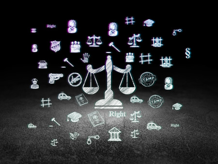 Law concept: Glowing Scales icon in grunge dark room with Dirty Floor, black background with  Hand Drawn Law Icons