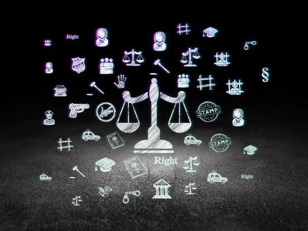 derecho penal: Ley concepto: Icono Brillante Escalas en el grunge habitaci�n oscura con Dirty Floor, fondo negro con el dibujado a mano Iconos Derecho