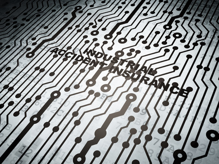 industrial accident: Insurance concept: circuit board with  word Industrial Accident Insurance, 3d render