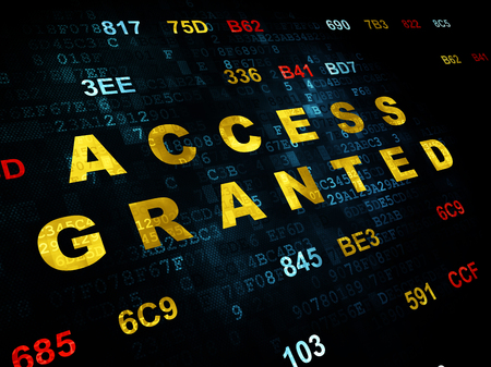 access granted: Security concept: Pixelated yellow text Access Granted on Digital wall background with Hexadecimal Code