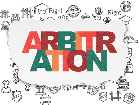 arbitration: Law concept: Painted multicolor text Arbitration on Torn Paper background with  Hand Drawn Law Icons Stock Photo