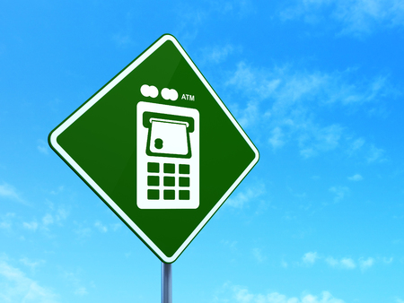 way bill: Banking concept: ATM Machine on green road (highway) sign, clear blue sky background, 3d render