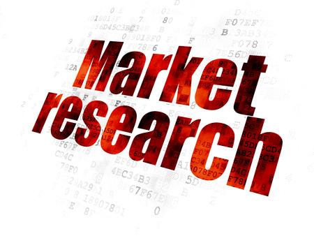 investigando: Publicidad concepto: texto rojo Pixelated Investigación del mercado en el fondo digital