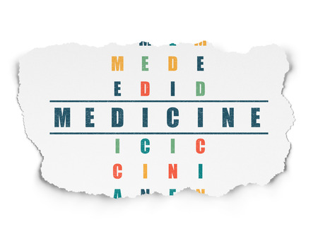 word medicine: Health concept: Painted blue word Medicine in solving Crossword Puzzle on Torn Paper background Stock Photo