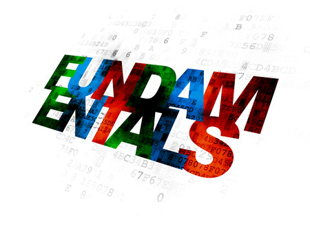 fundamentals: Science concept: Pixelated multicolor text Fundamentals on Digital background Stock Photo