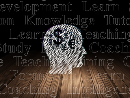 head tag: Education concept: Glowing Head With Finance Symbol icon in grunge dark room with Wooden Floor, black background with  Tag Cloud Stock Photo