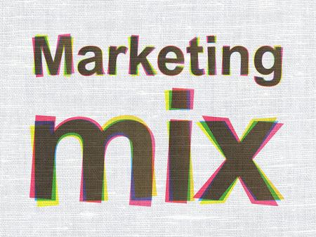 marketing mix: Advertising concept: CMYK Marketing Mix on linen fabric texture background Stock Photo