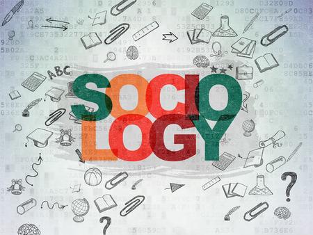 sociology: Aprendizaje de concepto: Pintadas texto multicolor Sociología en el fondo papel digital con el Esquema de dibujado a mano Iconos Educación Foto de archivo