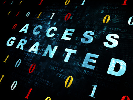 access granted: Protection concept: Pixelated blue text Access Granted on Digital wall background with Binary Code