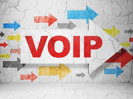 Web development concept:  arrow with VOIP on grunge textured concrete wall background Imagens