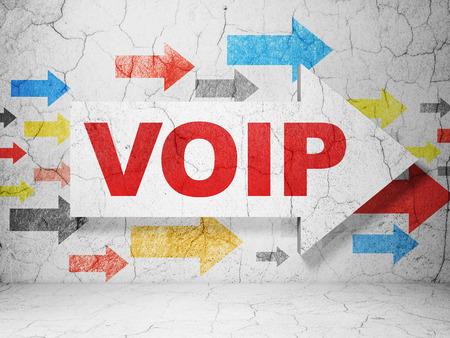 Web development concept:  arrow with VOIP on grunge textured concrete wall background Standard-Bild