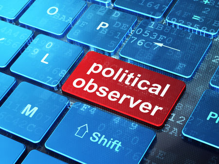 observer: Politics concept: computer keyboard with word Political Observer on enter button background, 3d render Stock Photo