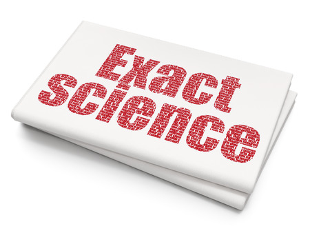 exact science: Science concept: Pixelated red text Exact Science on Blank Newspaper background