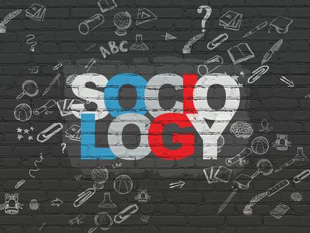 sociologia: El estudio de concepto: Pintadas texto multicolor Sociología sobre fondo de pared de ladrillo con Negro Esquema De La Mano Drawn Icons Educación