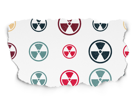 caution chemistry: Science concept: Painted multicolor Radiation icons on Torn Paper background