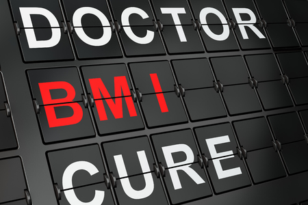 bmi: Healthcare concept: BMI on airport board background, 3d render
