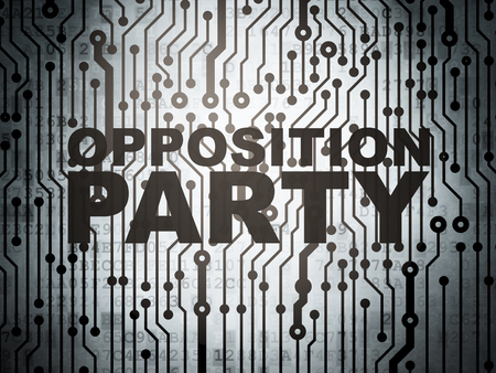opposition: Political concept: circuit board with  word Opposition Party, 3d render