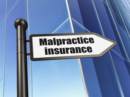 malpractice: Insurance concept: sign Malpractice Insurance on Building background, 3d render Stock Photo