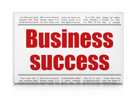newspaper headline: Business concept: newspaper headline Business Success on White background, 3d render