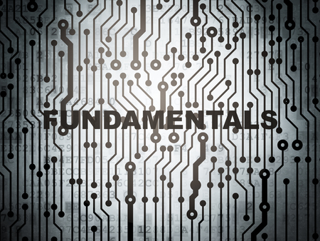 fundamentals: Science concept: circuit board with  word Fundamentals, 3d render