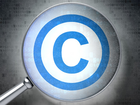 data protection act: Law concept: magnifying optical glass with Copyright icon on digital background Stock Photo
