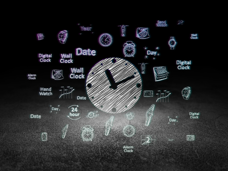 urban planning: Time concept: Glowing Clock icon in grunge dark room with Dirty Floor, black background with  Hand Drawing Time Icons Stock Photo