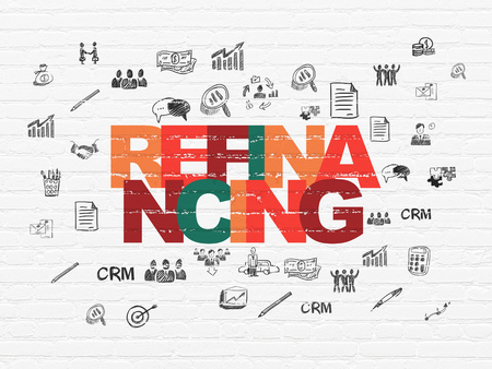 refinancing: Finance concept: Painted multicolor text Refinancing on White Brick wall background with  Hand Drawn Business Icons Foto de archivo