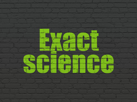 exact science: Science concept: Painted green text Exact Science on Black Brick wall background