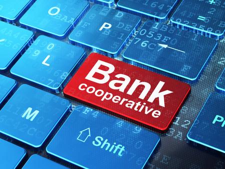 cooperativa: Concepto de dinero: Teclado de ordenador con la palabra Banco Cooperativo en introducir bot�n de fondo, 3d Foto de archivo