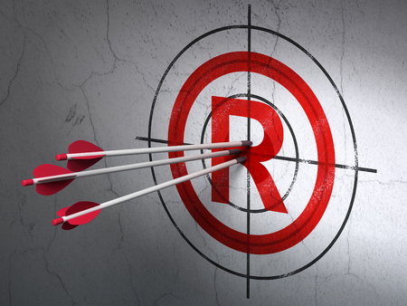 r regulation: Success law concept: arrows hitting the center of Red Registered target on wall background