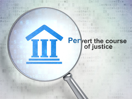 pervert: Law concept: magnifying optical glass with Courthouse icon and Pervert the course Of Justice word on digital background