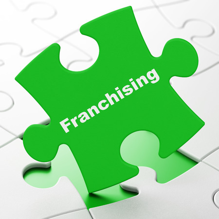 franchising: Business concept: Franchising on Green puzzle pieces background, 3d render