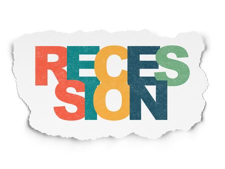 recession: Business concept: Painted multicolor text Recession on Torn Paper background