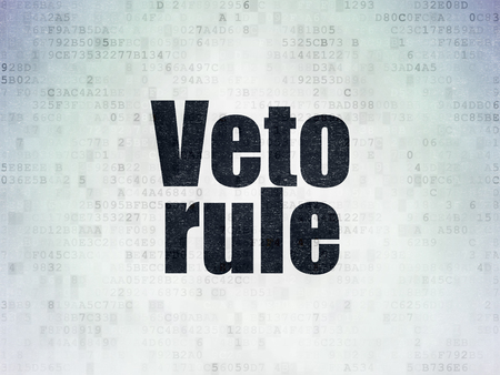 veto: Politics concept: Painted black word Veto Rule on Digital Paper background