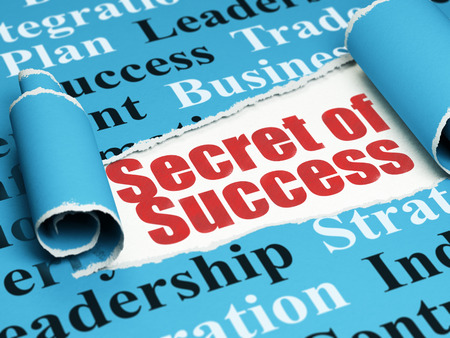 Finance concept: red text Secret of Success under the curled piece of Blue torn paper with  Tag Cloud Stock Photo