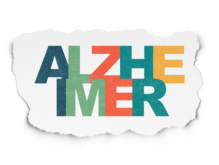 alzheimer: Medicine concept: Painted multicolor text Alzheimer on Torn Paper background