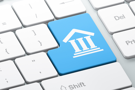 criminal act: Law concept: Enter button with Courthouse on computer keyboard background, 3d render Stock Photo