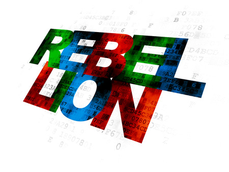 rebellion: Politics concept: Pixelated multicolor text Rebellion on Digital background Stock Photo