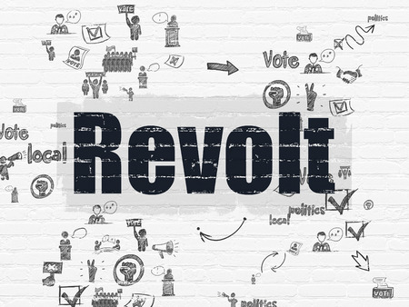 revolt: Politics concept: Painted black text Revolt on White Brick wall background with Scheme Of Hand Drawn Politics Icons